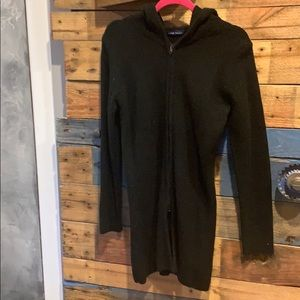 Hooded long black sweater.